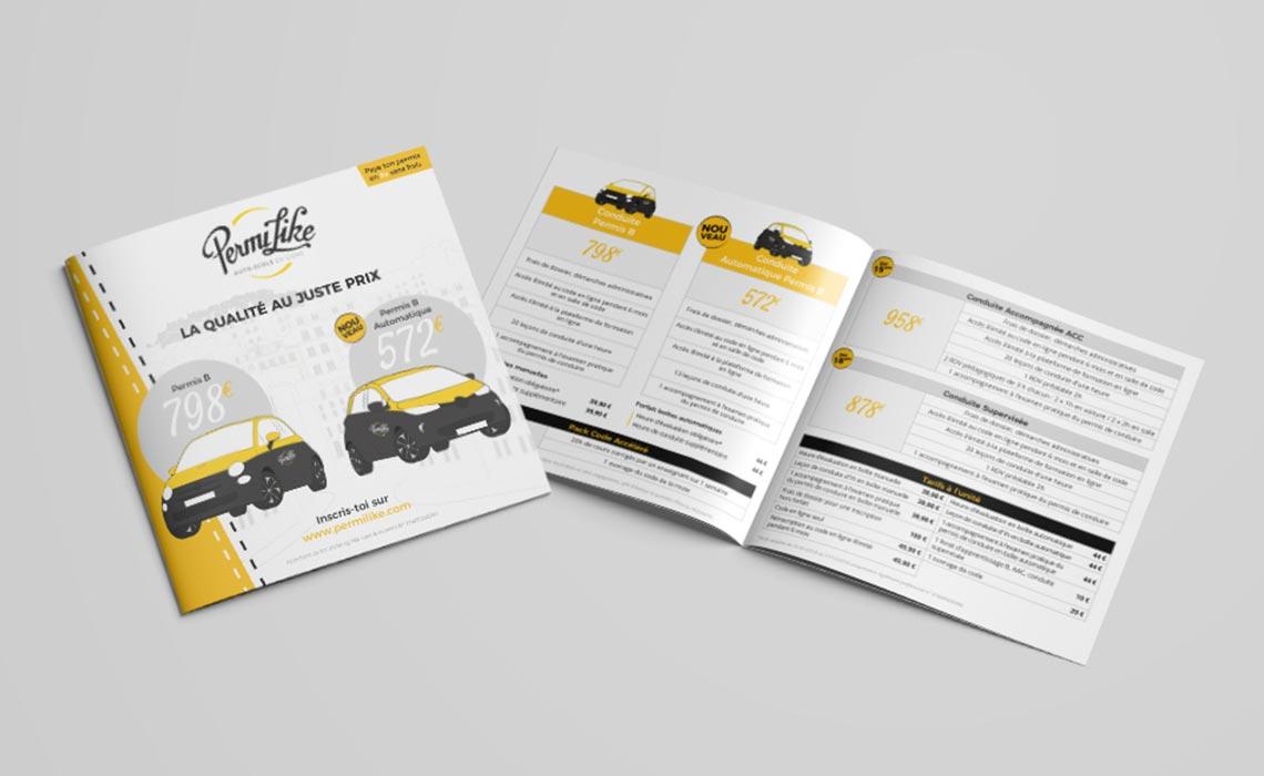 Flyer présentation des services de l'auto-école Permilike
