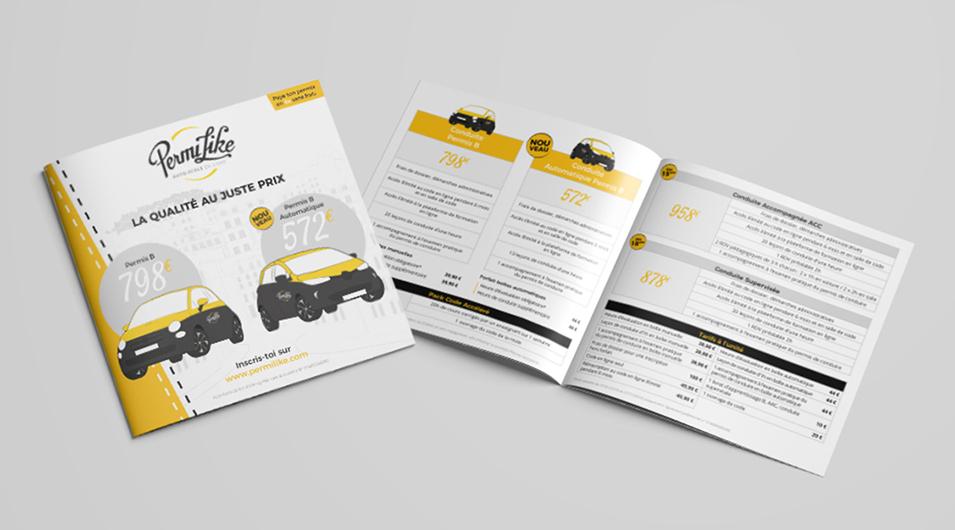 Création de flyer pour l'auto-école Permilike