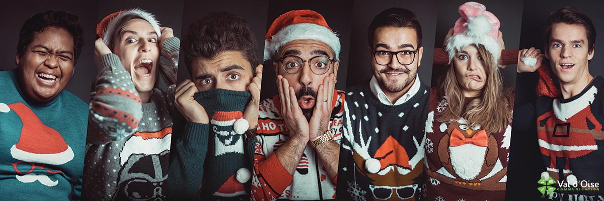 Toute l'équipe de Val d'Oise Communication avec des pulls de Noël moches !
