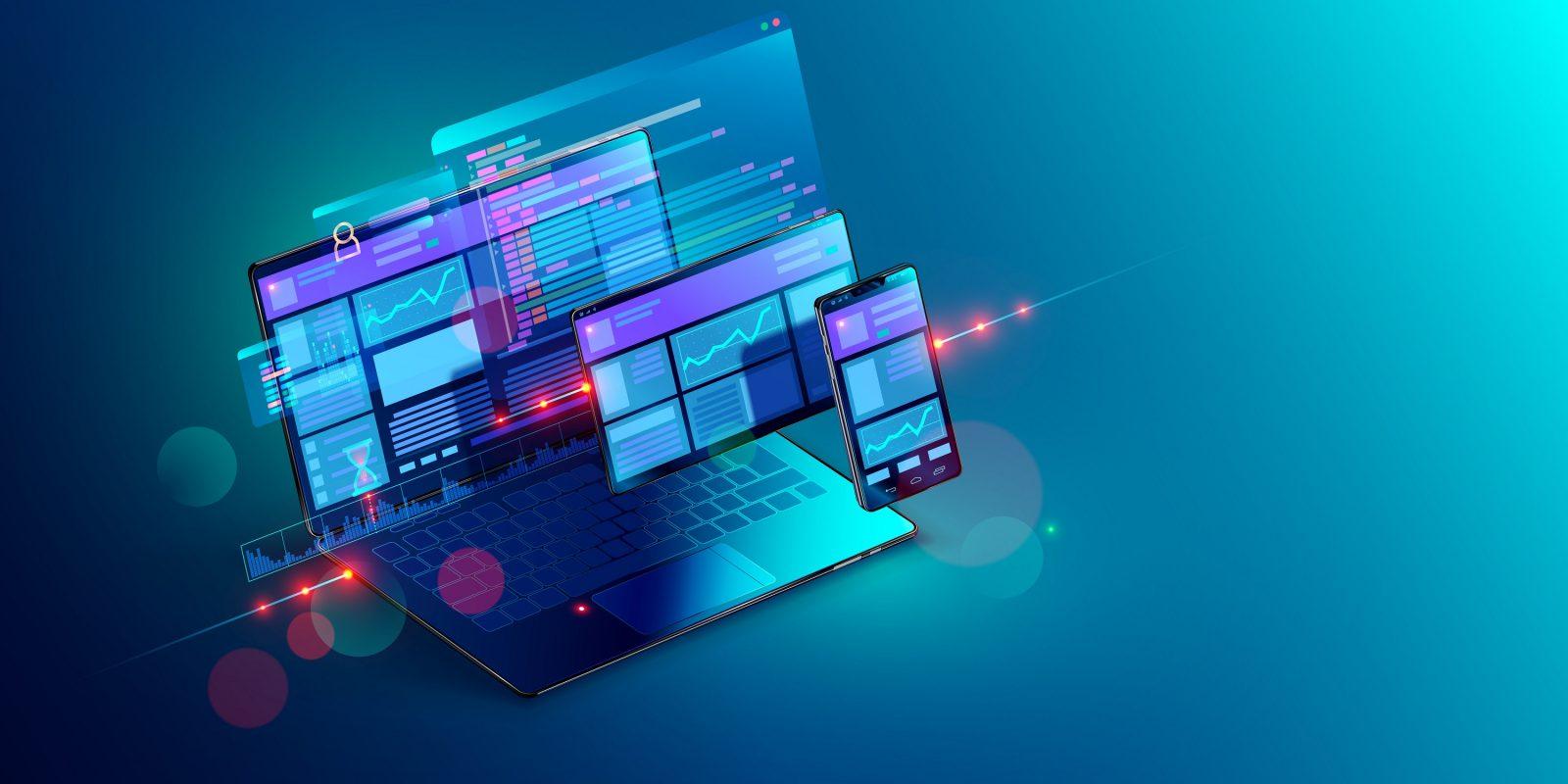 Développement web et code informatique. Concept 3D de développement web multi-plateformes sur un ordinateur portable, une tablette et un téléphone.