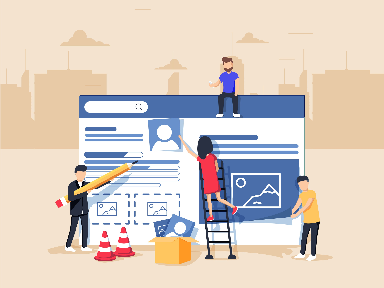 Webdesign et développement web. Un site web en construction. Une équipe de jeune professionnels travaillant sur une landing page.