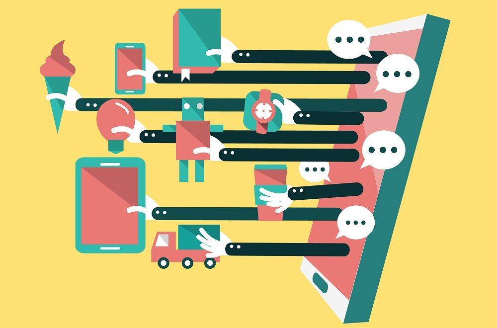 Illustration du concept de la vente en ligne avec des objets qui sortent d'un écran de smartphone