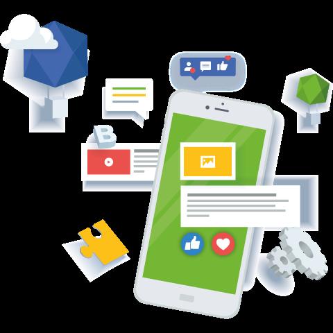 Illustration d'un téléphone mobile représentant la gestion des réseaux sociaux
