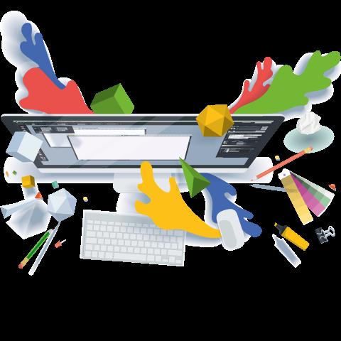 Illustration graphique comprenant un ordinateur et des tâches de couleurs