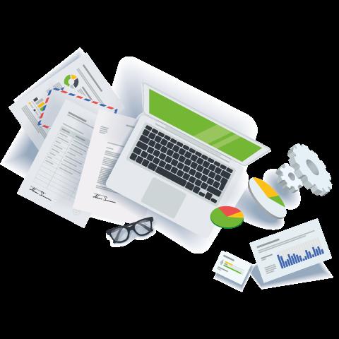 Illustration d'un ordinateur portable représentant le référencement web