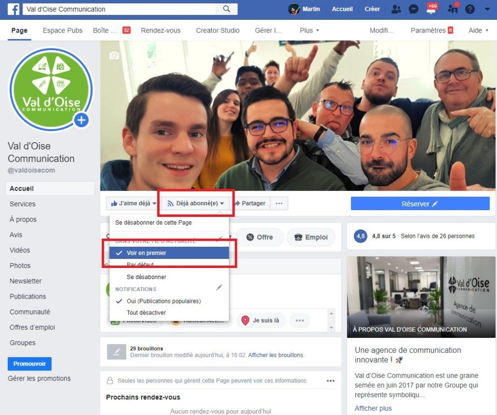 """Tuto """"voir en premier"""" sur la page Facebook de Val d'Oise Communication"""