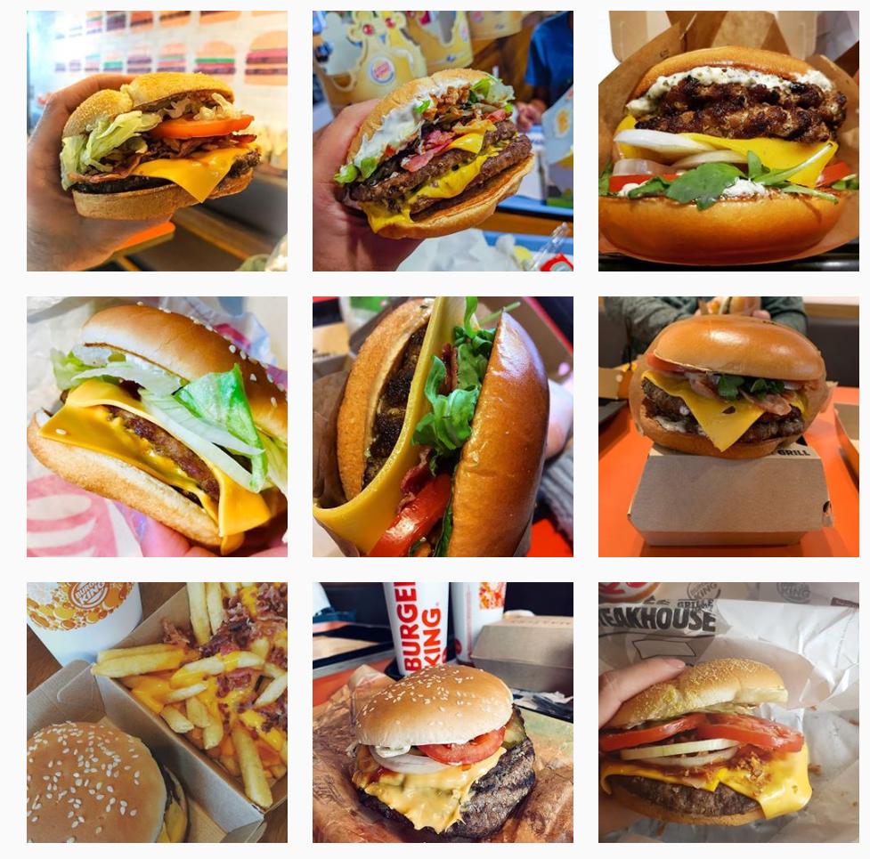 Photo d'illustration du fil Instagram de Burger King.