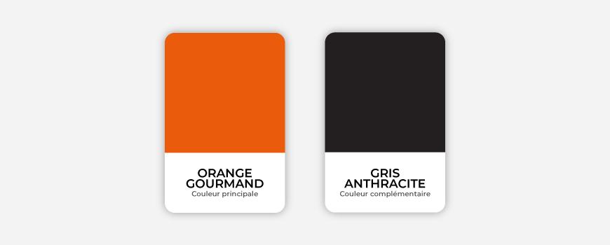 Les couleurs orange et gris pour le Comptoir des Gourmets - Val d'Oise Communication