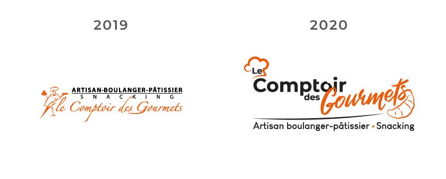 Les différents logos du Comptoir des Gourmets - Val d'Oise Communication