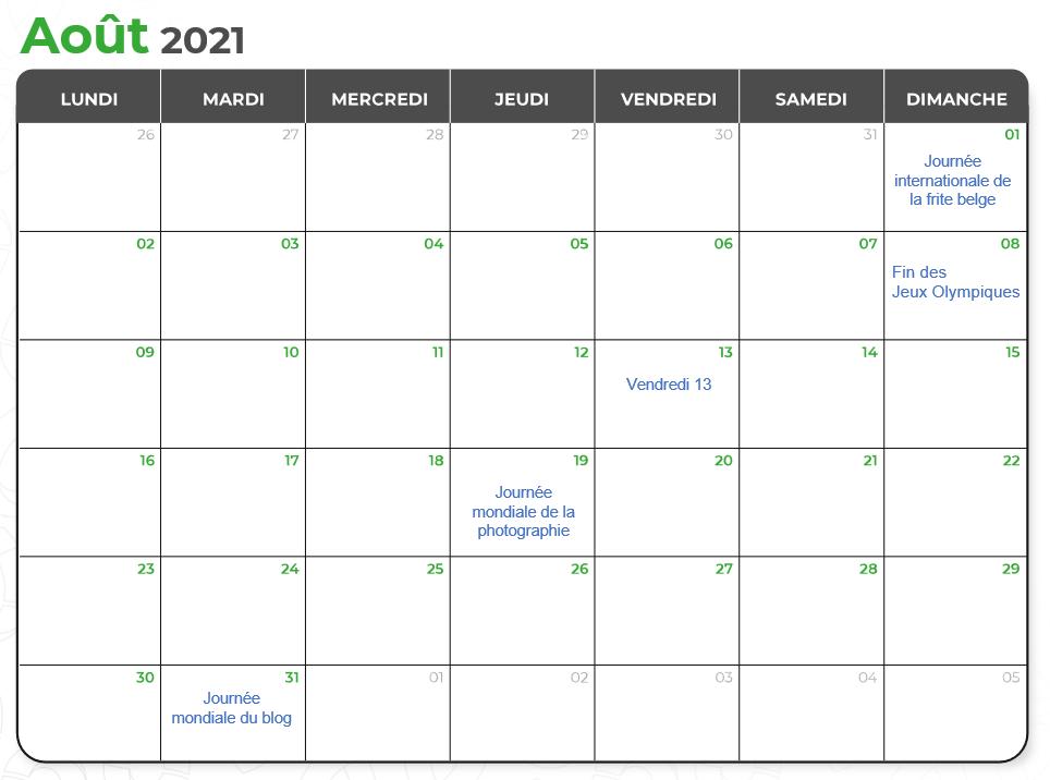 Calendrier marketing août 2021 par Val d'Oise Communication
